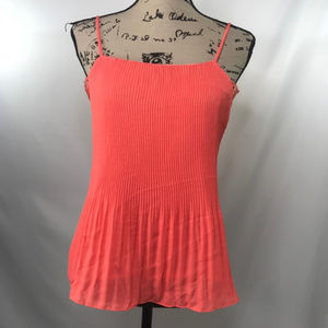Nordstrom Orange Tank Blouse Lace Top Pleated NWT